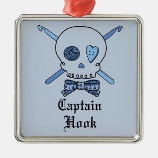 Captain Hook Skull & Crochet Hooks (Blue Back) Square Metal Christmas Ornament