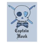 Captain Hook Skull & Crochet Hooks (Blue Back) Postcard