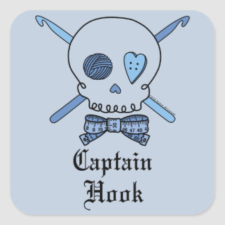 Captain Hook Skull & Crochet Hooks (Blue Back) Square Sticker