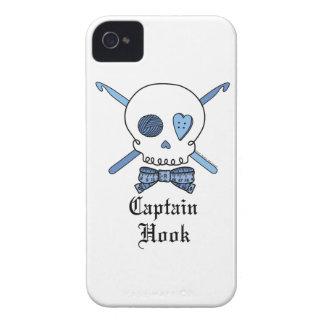 Captain Hook Skull & Crochet Hooks (Blue) iPhone 4 Case-Mate Case