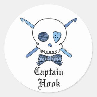 Captain Hook Skull & Crochet Hooks (Blue) Classic Round Sticker