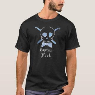 Captain Hook Skull & Crochet Hooks (Blue - Dark) T-Shirt
