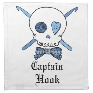 Captain Hook Skull & Crochet Hooks (Blue) Napkin