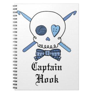 Captain Hook Skull & Crochet Hooks (Blue) Spiral Notebooks