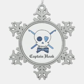 Captain Hook Skull & Crochet Hooks (Blue) Snowflake Pewter Christmas Ornament