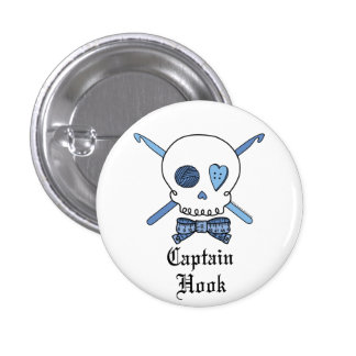 Captain Hook Skull & Crochet Hooks (Blue) Pinback Button