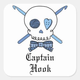 Captain Hook Skull & Crochet Hooks (Blue) Square Sticker