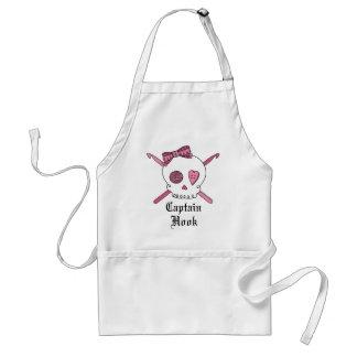 Captain Hook Skull & Crochet Hooks (Pink) Adult Apron