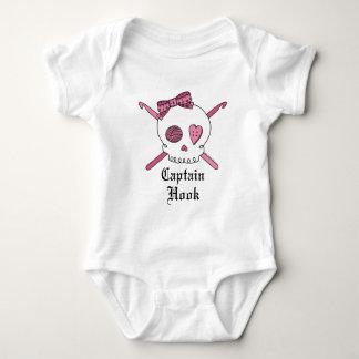 Captain Hook Skull & Crochet Hooks (Pink) Baby Bodysuit