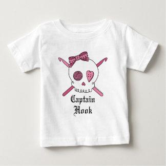 Captain Hook Skull & Crochet Hooks (Pink) Baby T-Shirt