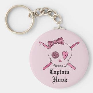 Captain Hook Skull & Crochet Hooks (Pink Back) Basic Round Button Keychain