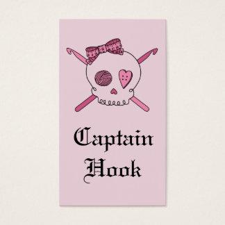 Captain Hook Skull & Crochet Hooks (Pink Back) Business Card
