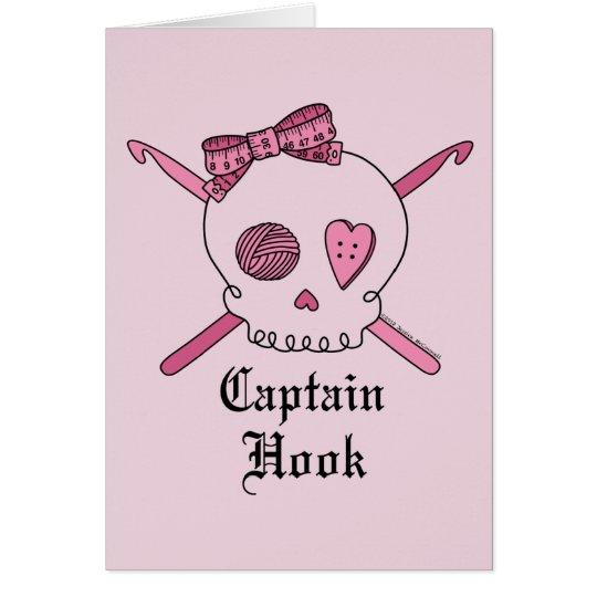 Captain Hook Skull & Crochet Hooks (Pink Back) Card