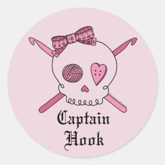 Captain Hook Skull & Crochet Hooks (Pink Back) Classic Round Sticker