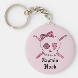 Captain Hook Skull & Crochet Hooks (Pink Back) Keychain