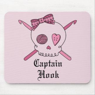 Captain Hook Skull & Crochet Hooks (Pink Back) Mouse Pad