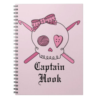 Captain Hook Skull & Crochet Hooks (Pink Back) Notebook