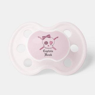 Captain Hook Skull & Crochet Hooks (Pink Back) Pacifier
