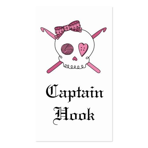 Captain Hook Skull & Crochet Hooks (Pink) Double-Sided Standard Business Cards (Pack Of 100)