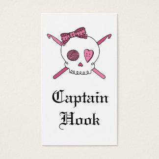 Captain Hook Skull & Crochet Hooks (Pink) Business Card