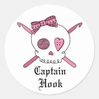 Captain Hook Skull & Crochet Hooks (Pink) Classic Round Sticker