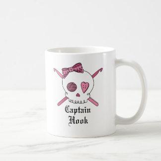 Captain Hook Skull & Crochet Hooks (Pink) Classic White Coffee Mug