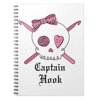 Captain Hook Skull & Crochet Hooks (Pink) Notebook