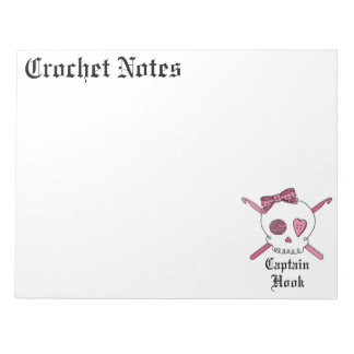 Captain Hook Skull & Crochet Hooks (Pink) Notepad