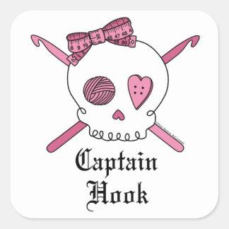 Captain Hook Skull & Crochet Hooks (Pink) Square Sticker