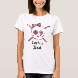 Captain Hook Skull & Crochet Hooks (Pink) T-Shirt
