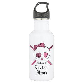 Captain Hook Skull & Crochet Hooks (Pink) Water Bottle