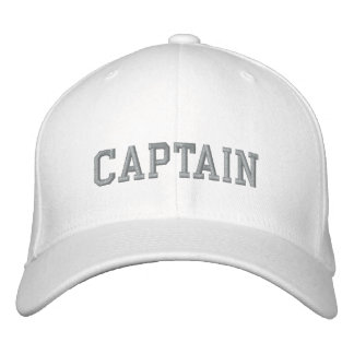 Captain in grey on white sport embroidered cap|hat embroidered baseball cap