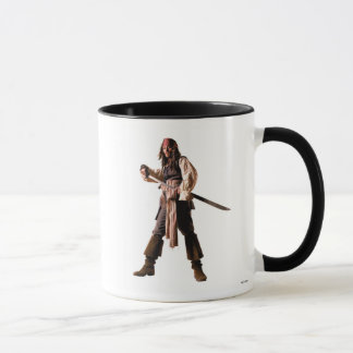 Captain jack sparrow standing drawing sword mug