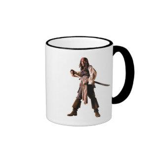 Captain jack sparrow standing drawing sword ringer coffee mug