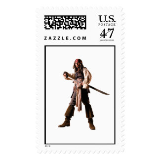 Captain jack sparrow standing drawing sword postage