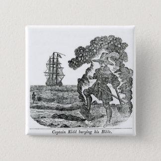 Captain Kidd Burying His Bible, illustration Button