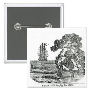 Captain Kidd Burying His Bible, illustration 2 Inch Square Button