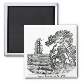 Captain Kidd Burying His Bible, illustration 2 Inch Square Magnet