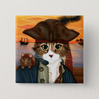 Captain Leo, Pirate Cat & Rat Fantasy Art Button
