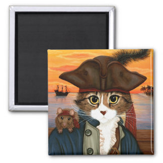 Captain Leo, Pirate Cat & Rat Fantasy Art Magnet