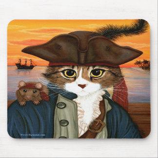 Captain Leo, Pirate Cat & Rat Fantasy Art Mousepad