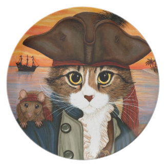 Captain Leo, Pirate Cat & Rat Fantasy Art Plate