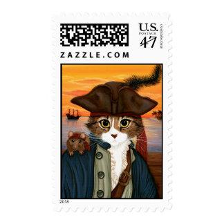 Captain Leo, Pirate Cat & Rat Fantasy Art Postage