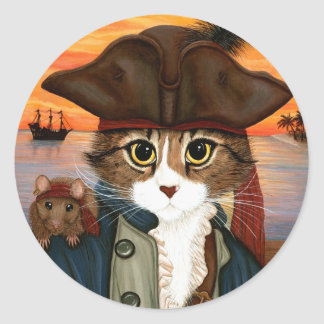 Captain Leo, Pirate Cat & Rat Fantasy Art Sticker