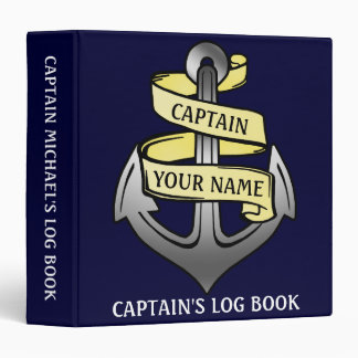 Captain Log Ship Anchor Nautical Personalized Name 3 Ring Binder