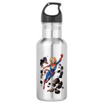 Captain Marvel Breaking Through Wall Water Bottle