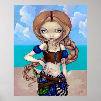 Captain Molly Morgan Art Print - Pirate Girl