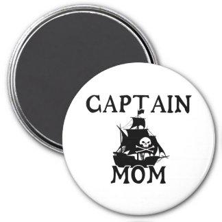 Captain Mom Round Magnet