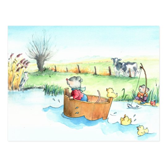 Captain Mouse on Boat Postcard