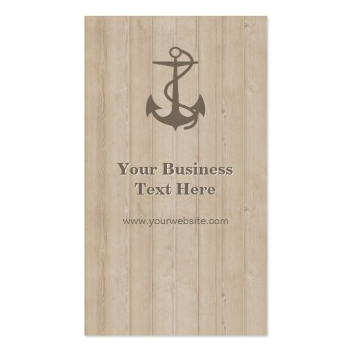 Captain - Nautical Anchor Wood Business Card (back side)